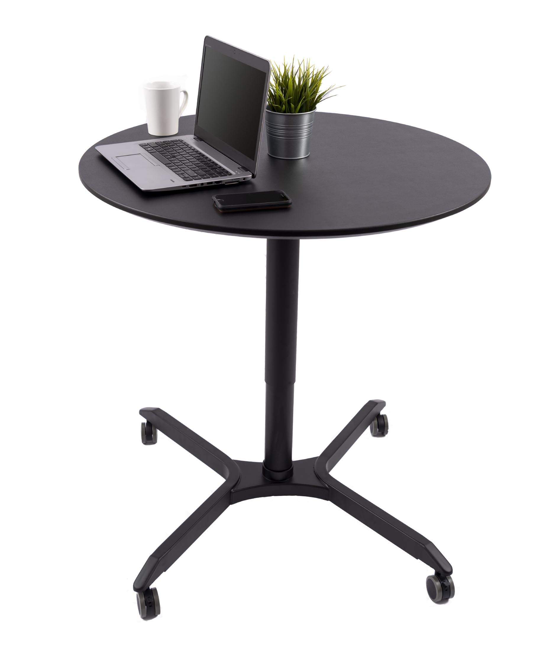 Stand Up Desk Store Pneumatic Adjustable-Height Cafe Table | Breakroom Table - (35'', Black Frame/Black Top) by Stand Up Desk Store