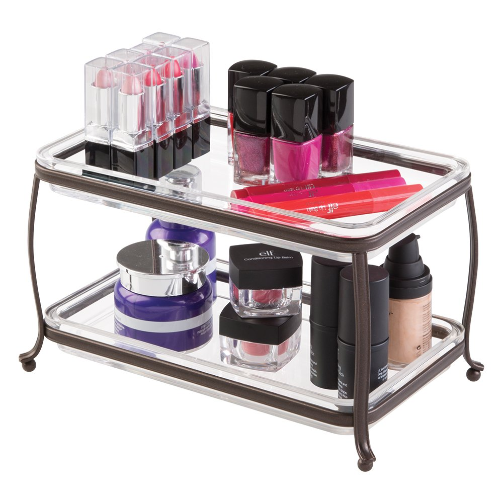 mDesign Traditional Fashion Jewelry and Cosmetic Organizer Tray for Bathroom Vanity Countertops - 2 Tiers, Bronze/Clear