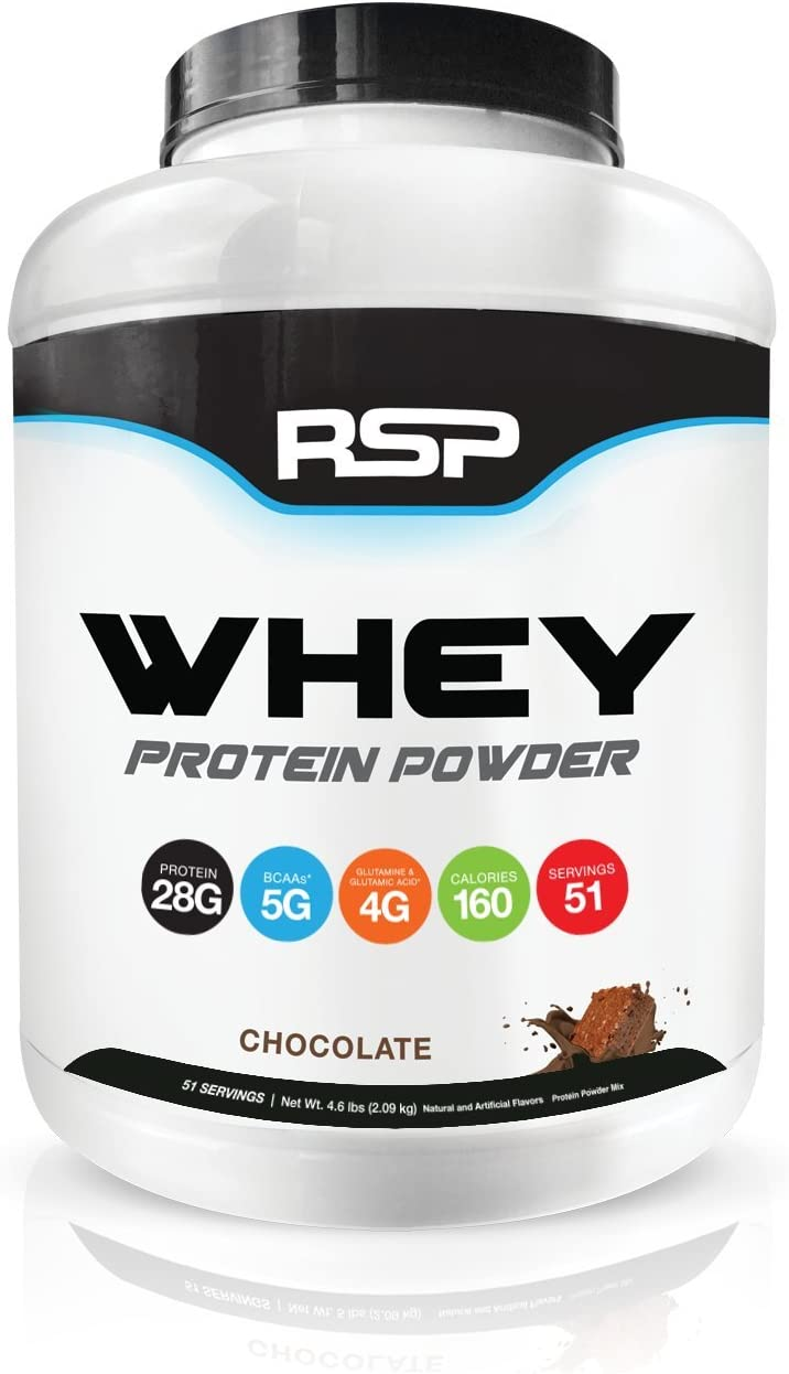 RSP Whey Protein Powder 5LB – 27G Premium Whey Protein Shake with BCAAs and Glutamine, Post Workout Recovery Protein Supplement, 51 Servings Chocolate