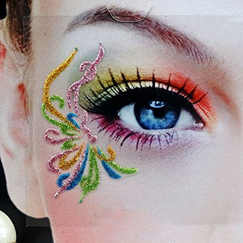 3Pairs(6PCS) Different Models Colorful Temporary Transfer Eyeshadow Eyeliner Canthus Stickers With Self-Adhesive for Show And Halloween Party(1# /9# /13#)]()