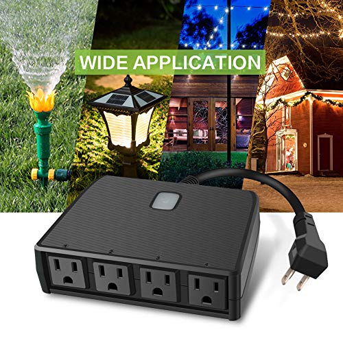 Outdoor Smart Plug Waterproof 2.4G WiFi Remote Control Switch Outlet (1 in 4 out) Compatible Work with Alexa Google Home Assistant by Smart Phone Smart Socket Indoor Outdoor Use by BellaElegance (Image #2)