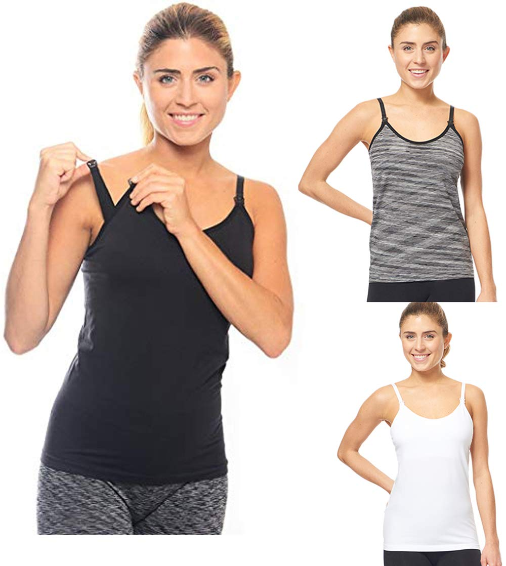 3 Pack 3 Style Clip-down Double Opening Maternity Nursing Tank Top and Cami Shirts Clothes For Mother's Breast Feeding (3 Pack-Small Size) Multi Color by Under Control