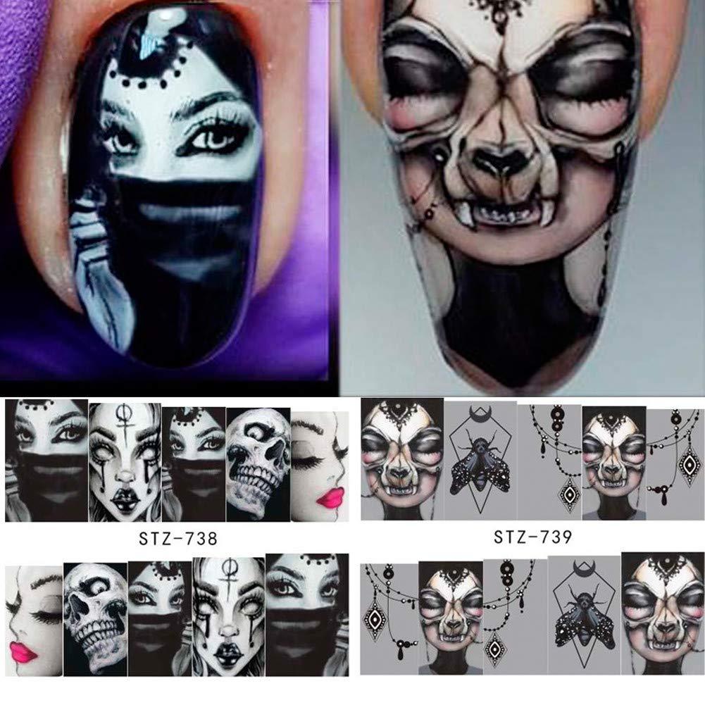 NICOLE DIARY Halloween calcomanías de agua de uñas Patrón de cráneo Decoraciones de arte de uñas Transferir calcomanías DIY Manicura (8 patrones)