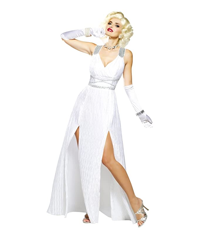 1950s Costumes- Poodle Skirts, Grease, Monroe, Pin Up, I Love Lucy Hollywood Goddess Marilyn Monroe White Dress Womens Sexy 1950s Costume $23.99 AT vintagedancer.com