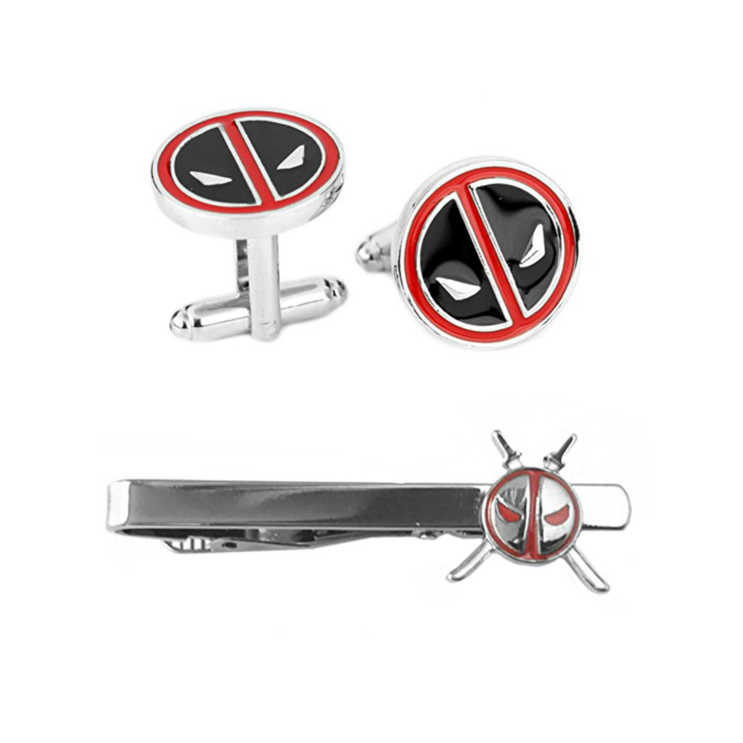 Outlander Deadpool Cufflink & Deadpool Katanas Tiebar - New 2018 Marvel Studios Superhero Movies - Set of 2 Wedding Logo w/Gift Box