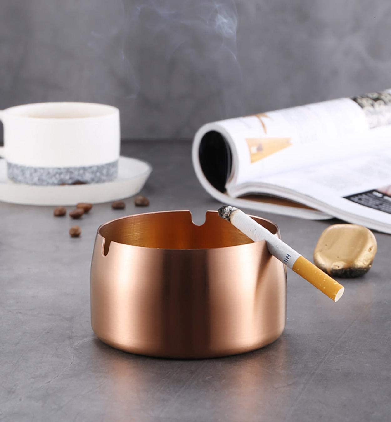 Dishwasher Safe Loneflash Ashtray Stainless Steel High Temperature Resistant Drop Resistant Round Design Ashtray Great for Outdoors and Patios 7.9x7.9x4.9cm Easy to Clean