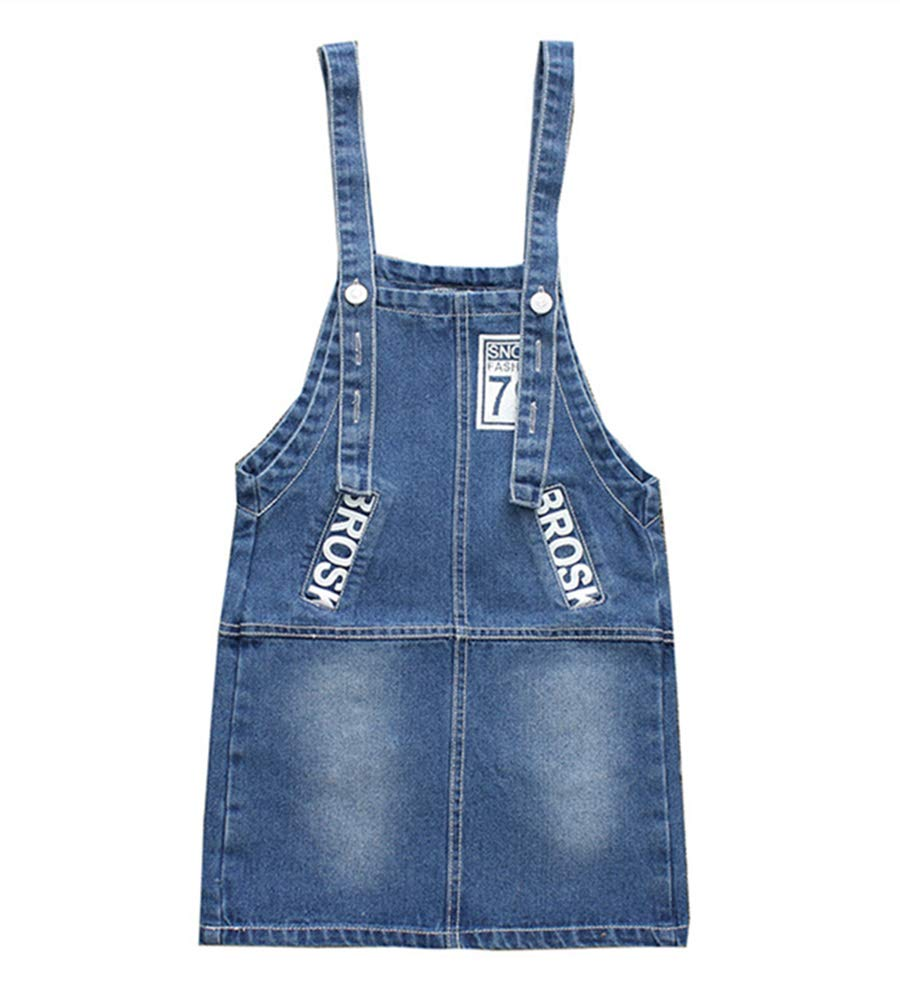 Oushiny Girls' Printed Denim Overall Dress,9-10