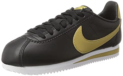 quite nice 678dc 1a35a ... switzerland nike womens classic cortez leather trainers black black  metallic gold 4.5 fcce1 a0069 ...