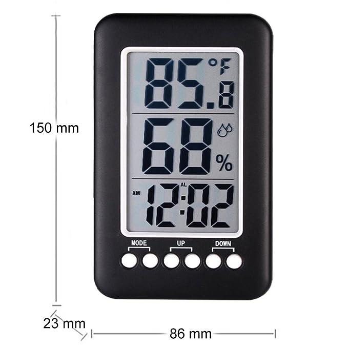 Termómetro Digital LCD Higrómetro Instrumentos De Temperatura Medidor De Sensor De Humedad Despertador Escritorio Mesa Termógrafo: Amazon.es: Hogar
