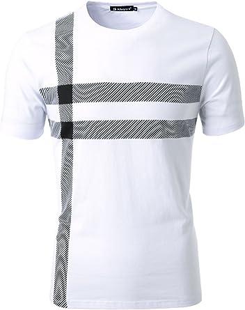 Allegra K Hombre Estampado De Rayas Manga Corta Algodón camiseta cuello redondo - algodón, Blanco, 100% suave 100% algodón, Hombre, S (UK 36): Amazon.es: Ropa y accesorios