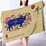 SOCOMIMI Microfiber Towels chinese zodiac signs of ox with chinese calligraphy text and the Multipurpose, Quick Drying L55.1 x W27.5 INCH