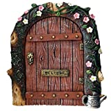 FHFY Garden Fairy door - ideal for gardens and bottom of trees/minature rustic door for elves pixies and fairies …