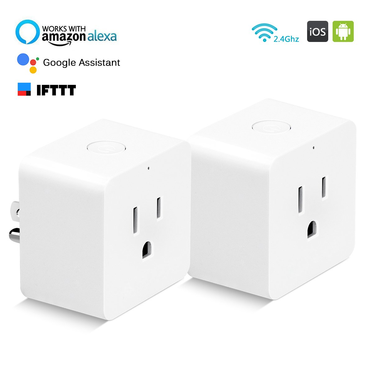 Mini Smart Plug Competible with Alexa Google Assistant, HLT Wifi Plug with Timing Function Control from Anywhere (2Pack-Square)
