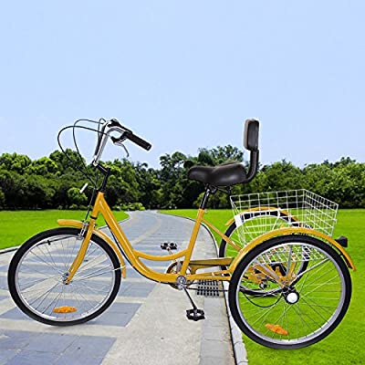 "Iglobalbuy 6 Speed Three Wheel Adult Tricycle Trike 24"" W/Large Size Basket (yellow)"