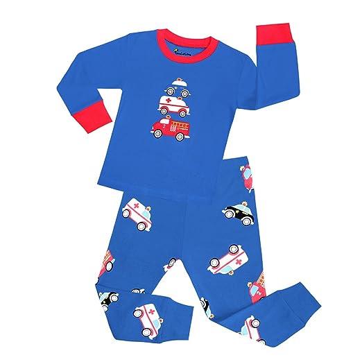 6c8ac66d4 Amazon.com  Cczmfeas Boys Pajamas Fire Truck Kids Pjs Sets Cotton ...