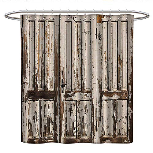 Anshesix RusticPattern Shower curtainVintage House Entrance with Vertical Old Planks Distressed Rustic Hardwood DesignFabric Shower curtainBrown White