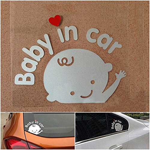 (1 Set Acceptable Unique Baby in Car Window Sticker Sign Decor Safety Symbol Logo Room Decal Laptop Patches Art Wall Funny Hoverboard Family Kids Vinyl Stickers Boy Style Color White)