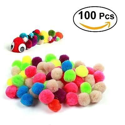NUOLUX 100pcs clasificadas multicoloras bolas de Pompones Hechos a Mano DIY Decoración 25mm: Juguetes y juegos