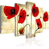 """5 Panels Red Flower Painting on Canvas Elegant Poppies Floral Artwork Modern Wall Art Picture Print for Living Room Overall 40""""W x 20""""H"""