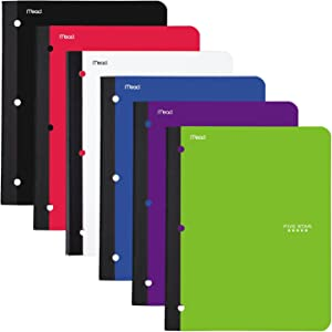 """Five Star Bound Notebooks with Pocket, 1 Subject, College Ruled Paper, 80 Sheets, 11"""" x 8-1/2, Assorted Colors, 6 Pack (38022)"""