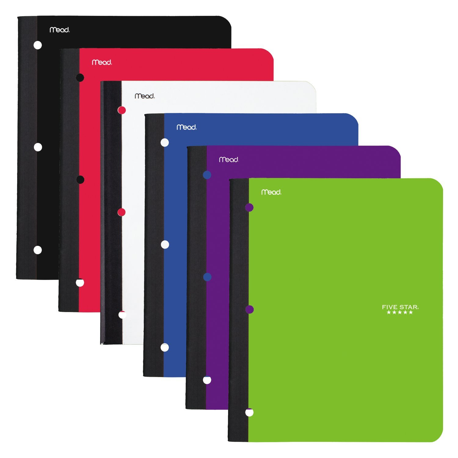 Five Star Bound Notebooks with Pocket, 1 Subject, College Ruled Paper, 80 Sheets, 11'' x 8-1/2, Assorted Colors, 6 Pack (38022)