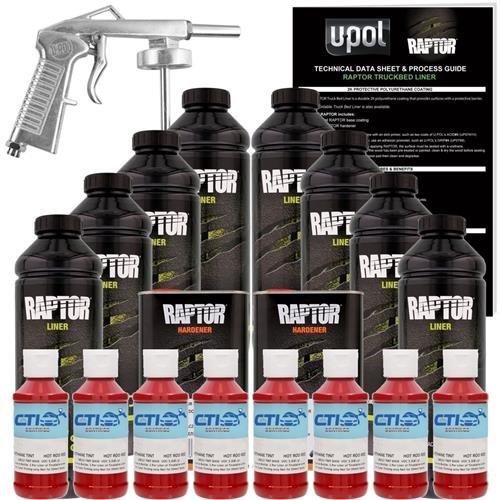 U-POL Raptor Hot Rod Red Urethane Spray-On Truck Bed Liner & Texture Coating W/Free Spray Gun, 8 (Red Hot Rod)