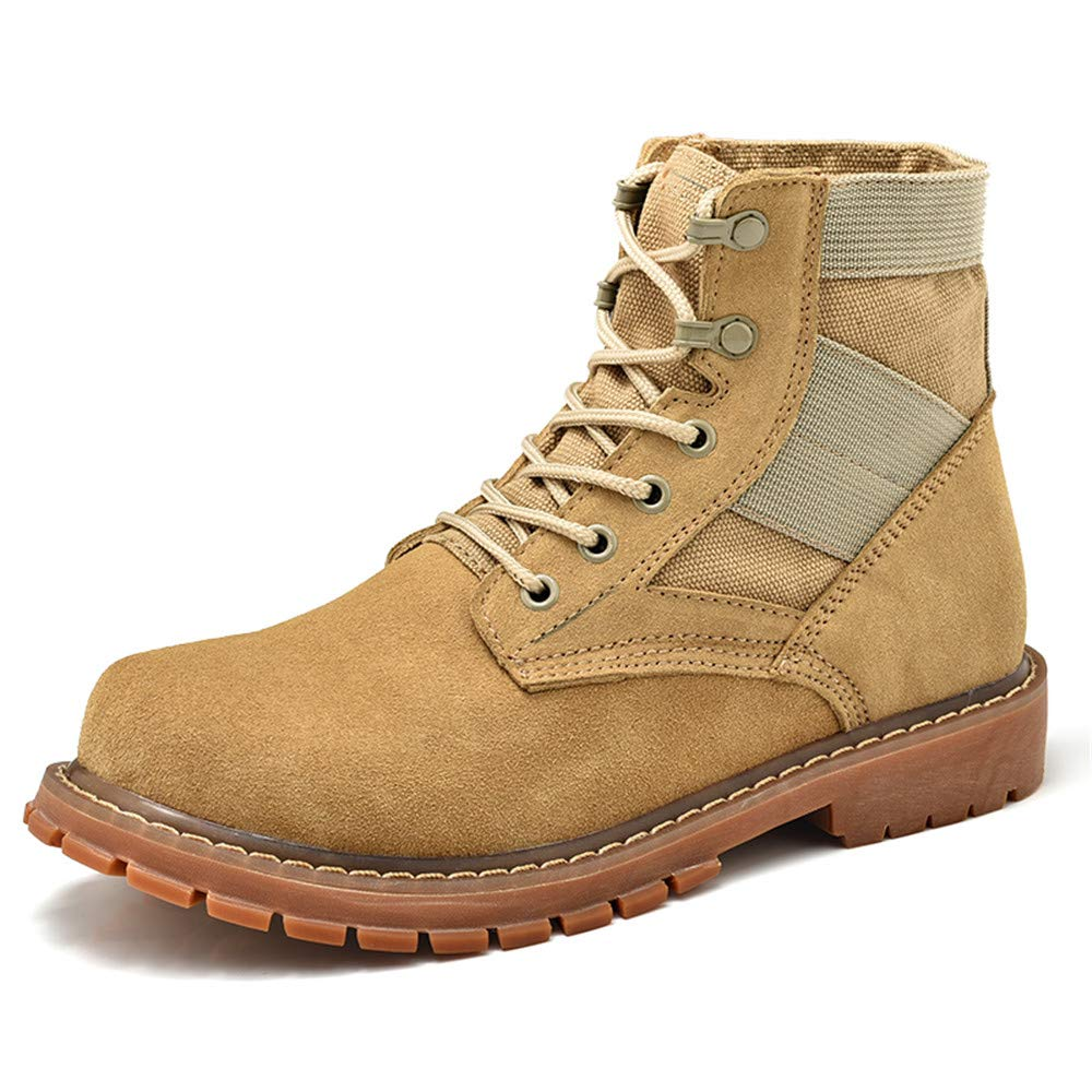Yellow Xiaojuan-boots, Men's Casual Personality OX Leather Ankle Boots Breathable Large Size Suede High Top Work shoes