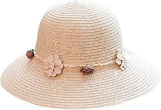 QIUXIAOAA Visor Hat Women, Womens Adult Summer Beach Paglia Floppy Sun Hat Intrecciato Bowknot Flower Artificial Wide Brim Round Top Sunbscreen cap con Cinturino, 2