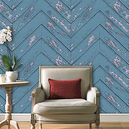 Z051 Chevron Wood Wallpaper Rolls, Blue Faux Wood Textured Paneling Wall Mural Kitchen Bedroom Living Room Hotels Wall Decoration 20.8