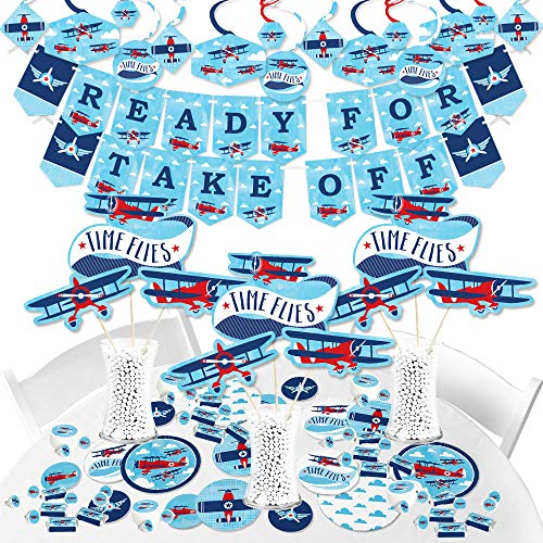 Taking Flight - Airplane - Vintage Plane Baby Shower or Birthday Party Decoration Kit - Fundle Bundle