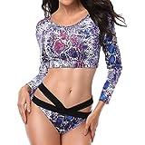 Women Long Sleeve Swimsuit 2Pcs Swimsuit Beachwear Push Up Padded Swimwear Plus Size Bikini Set Butterfly Print