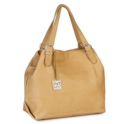 fe57e5bb59 Java Plum FES Camel Leather Tote  Amazon.in  Shoes   Handbags