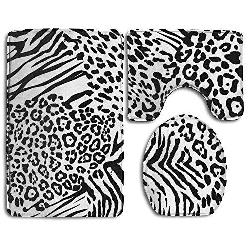 NEWpapa Art Design Custom Pattern 3 Pieces Set, Non Slip Bathroom Rugs, U-Shaped Toilet Mat, Toilet Lid Cover Leopard Print