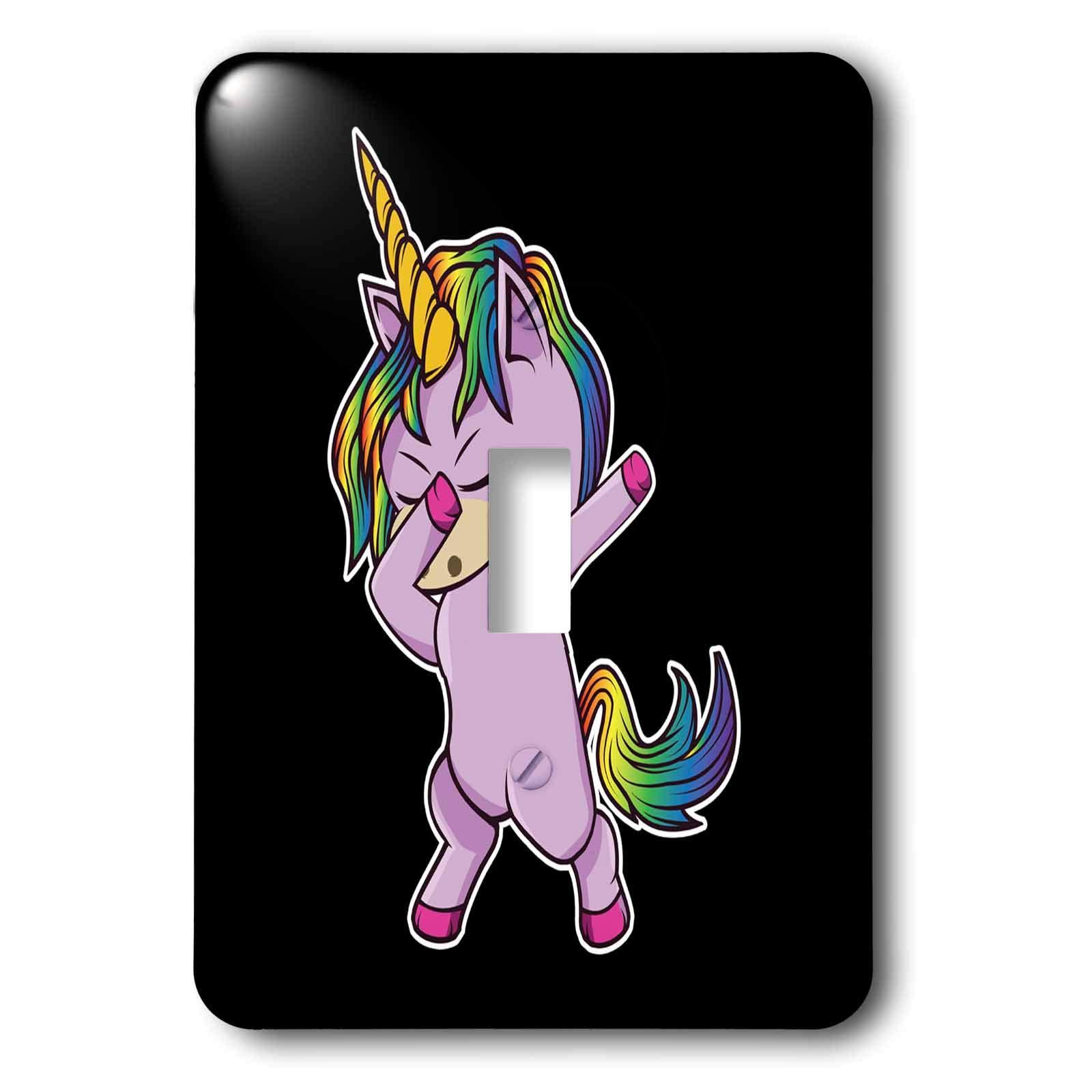 3dRose Sven Herkenrath - Animal - Cute Little Pink Dab Dabbing Unicorn on Black Background - Light Switch Covers - single toggle switch (lsp_290743_1)