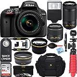 Nikon D3400 24.2 MP DSLR Camera + AF-P DX 18-55mm & 70-300mm VR NIKKOR Lens Kit + Bundle 64GB SDXC Memory + Photo Bag + Wide Angle Lens + 2x Telephoto Lens + Flash + Remote +Tripod+Filters (Black)