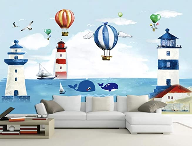 2a193f6695189 Amazon.com: Murwall Kids Wallpaper Watercolor Lighthouse Wall Mural ...