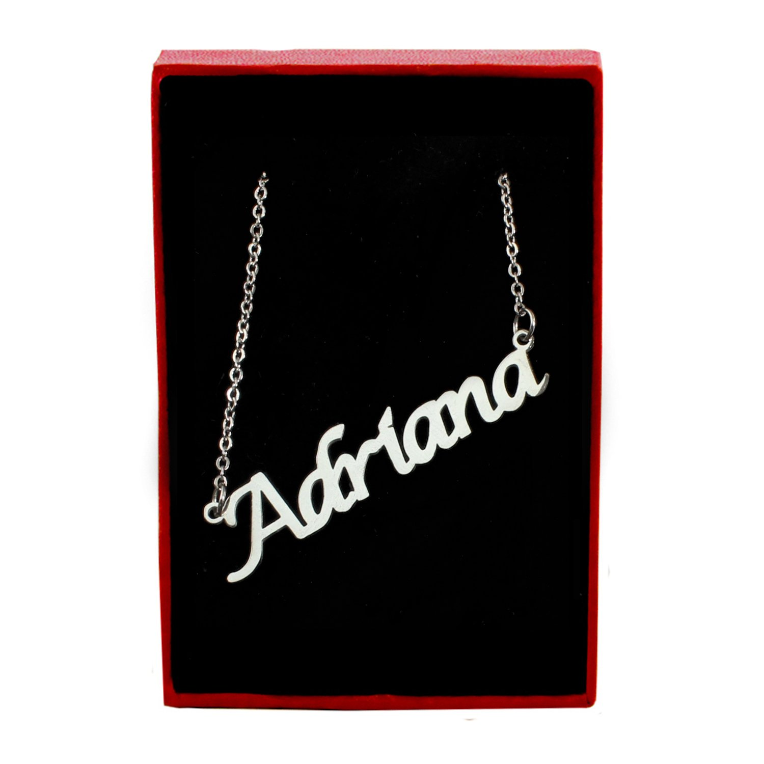 Silver Tone Zacria Adriana Name Necklace
