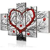 Lupia Vogue - Composición de 5 Cuadros de Madera para Pared, árbol del Amor, 66 x 115 cm