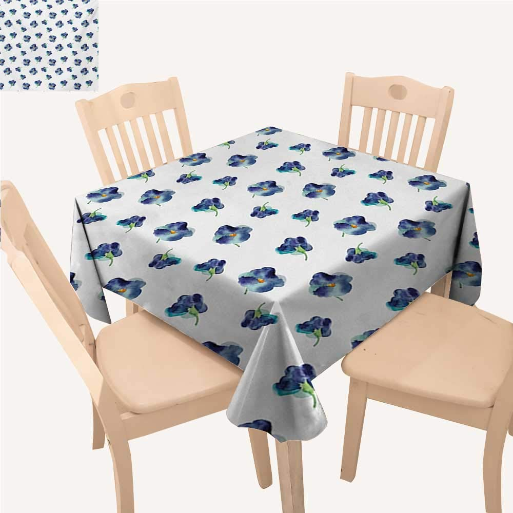 """Angoueleven Floral Christmas Tablecloth Watercolors Painted Violet Flowers Pattern Blooms Spring Nature Theme Kitchen Table Cover Navy Blue Turquoise Green W 54"""" x L 54"""""""
