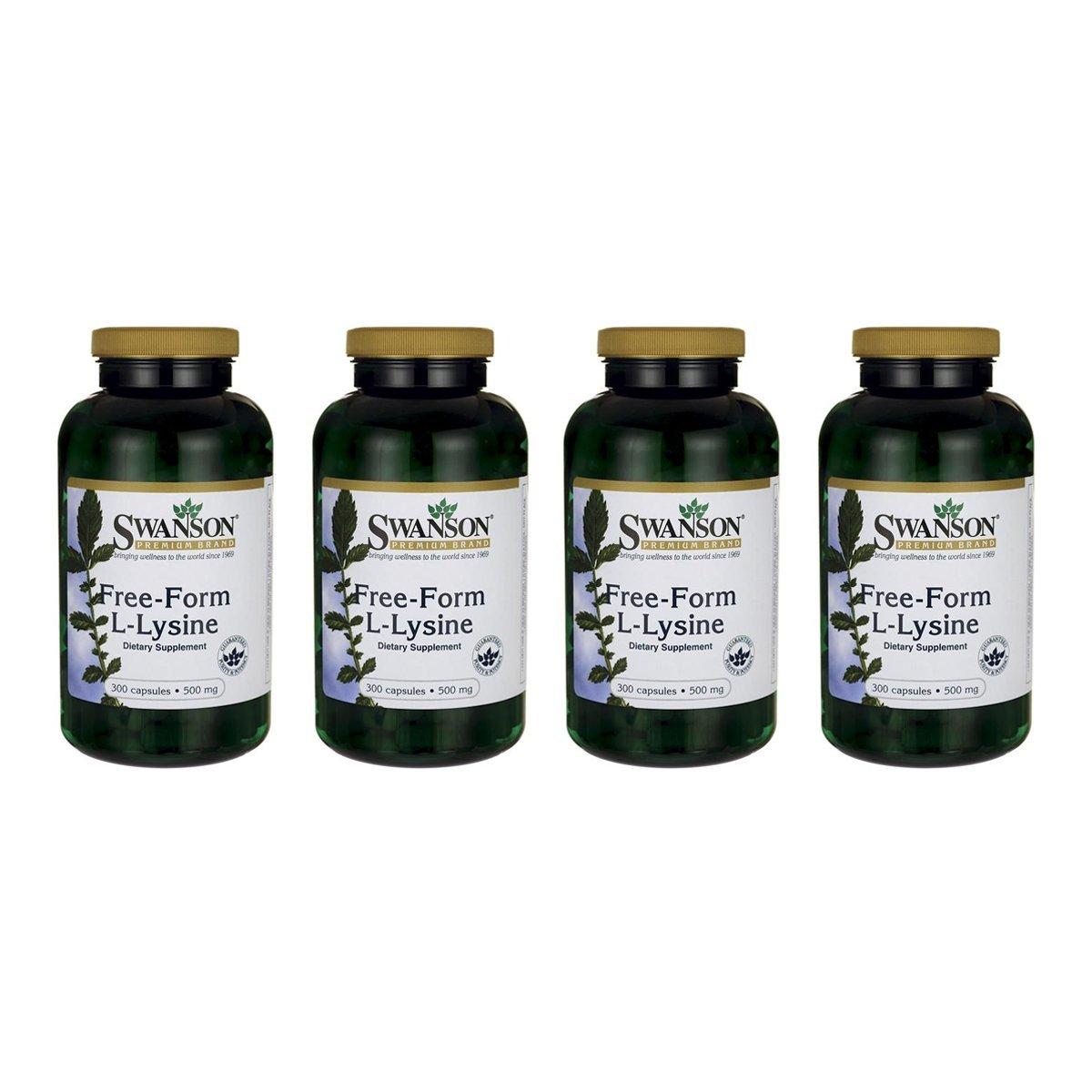 Swanson Free-Form L-Lysine 500 mg 300 Caps 4 Pack