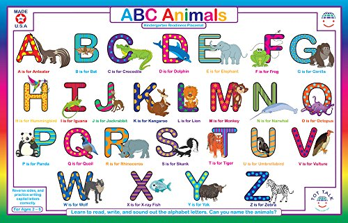 Tot Talk Amazing Animal ABC Educational Placemat for Kids, Washable and Long-Lasting