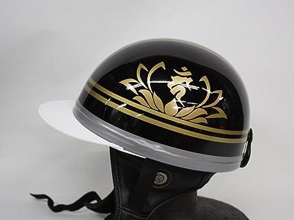 レッド 【梵字 タラーク】 TNK TR-40C フリーサイズ / ブラック 峠 コルク半ヘルメット