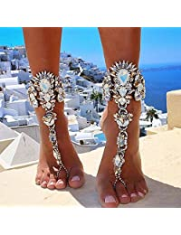 YAZILIND Beach Anklet Chain Bracelet Barefoot Sandals Wedding Foot Jewelry for Womens