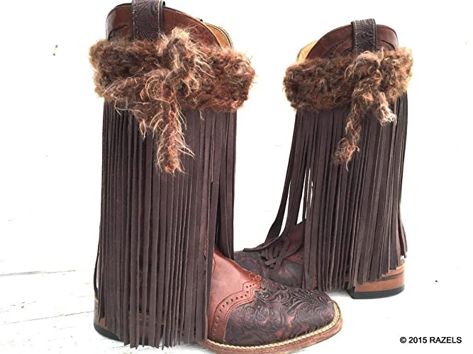 Amazon.com: GUNMETAL BROWN FRINGE BOOT COVERS, Leather FRINGE Boot ...