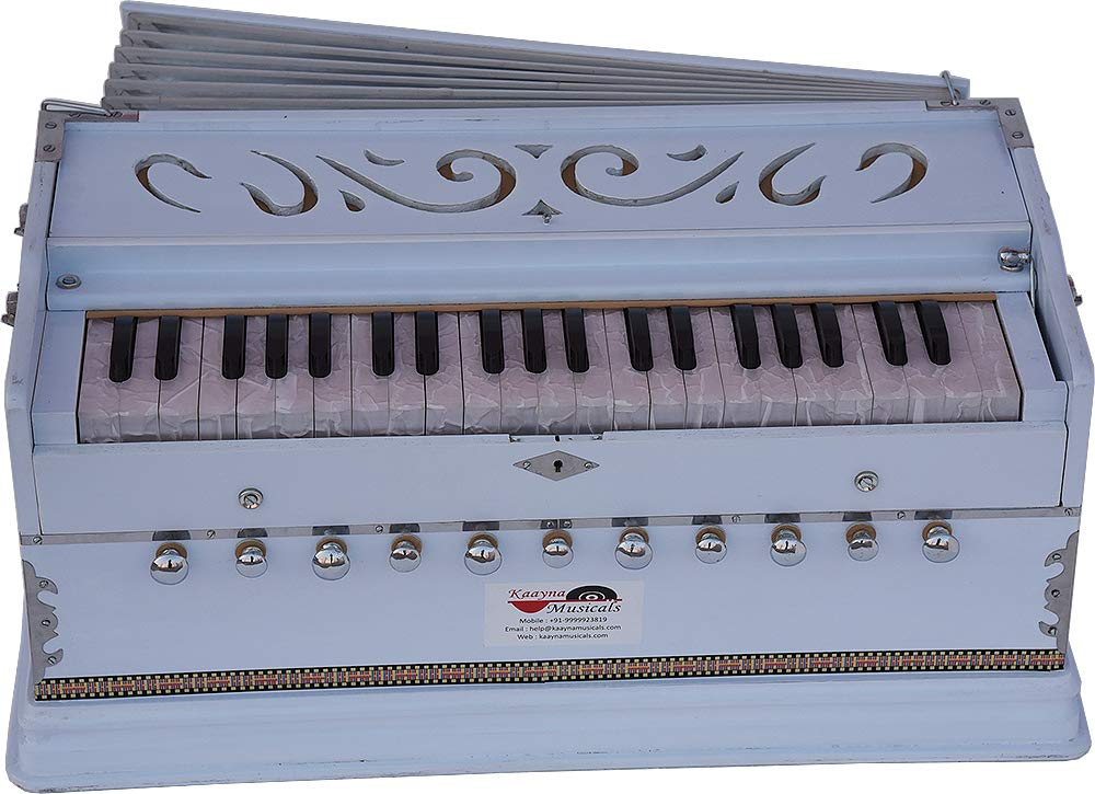 Harmonium White Pro Grade By Kaayna Musicals, 11 Stop- 6 Main & 5 Drone, 3½ Octaves, Coupler, Gig Bag, Bass/Male Reed Tuned- 440 Hz, Suitable for Peace, Yoga, Bhajan, Kirtan, Shruti, Mantra, etc by Kaayna Musicals (Image #9)