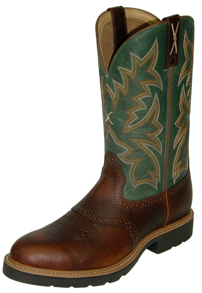 Twisted X Men's Saddle Vamp Pull-On Work Boot Steel Toe Cognac 11.5 EE US by Twisted X