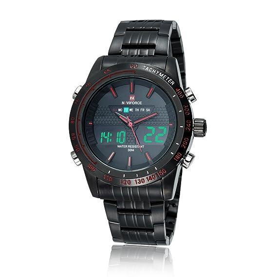 GuTe - Reloj de pulsera digital para hombre, luz LED, estilo militar, correa de acero inoxidable, cuarzo, color negro: Amazon.es: Relojes