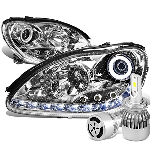 Mercedes-Benz S-Class W220 Pair of Chrome Housing Halo Projector LED Headlight + H7 LED Conversion Kit W/ Fan Halo Headlights Conversion
