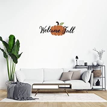 Amazon Com Welcome Fall Pumpkin Peel And Stick Wall Decals Autumn Decor Front Porch Wall Stickers For Bedroom Living Room Wall Art Home Decor Decal Sticker Baby