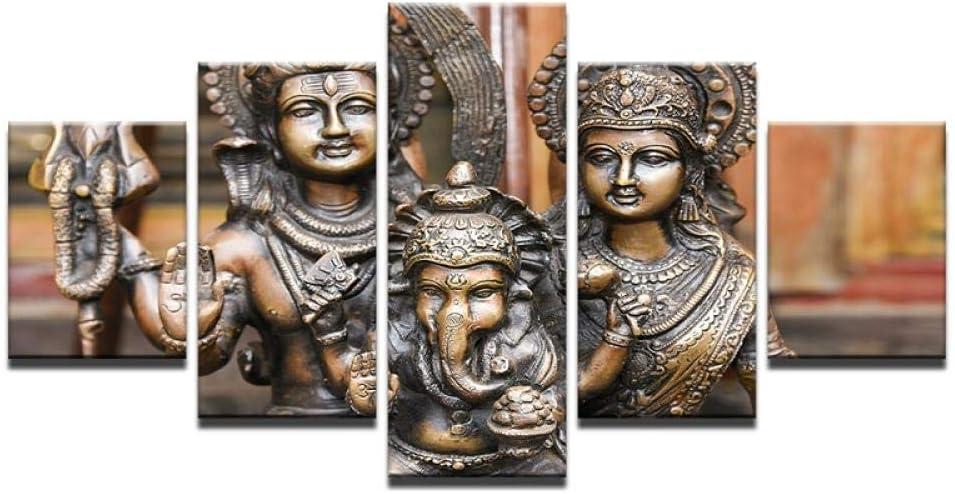WWMJBH 5 Piezas Lienzos Cuadros Pinturas 150 X 100 Cm Figuras Mitológicas Religiosas Indias Lona Carteles Casa Decoración De Pared Arte Pinturas Para Habitación Impresiones De Alta Definición Fotos Li